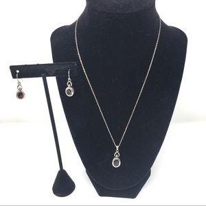 Sterling Silver & Garnet Necklace & Earrings